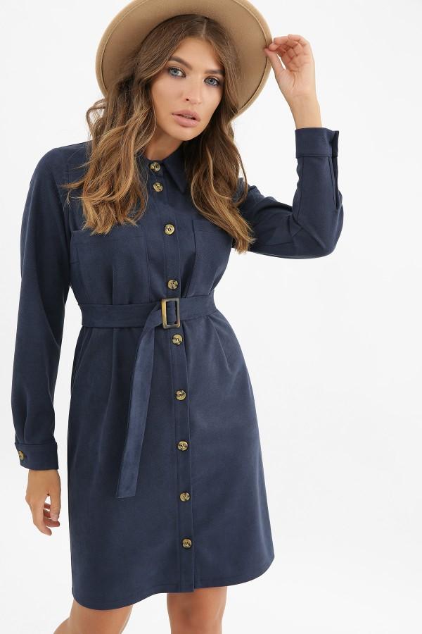 Тепла синя замшева сукня Реджина GL62519