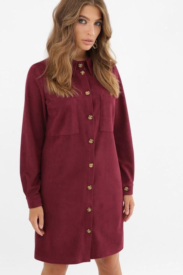 Тепла замшева сукня Реджина GL62521 бордо