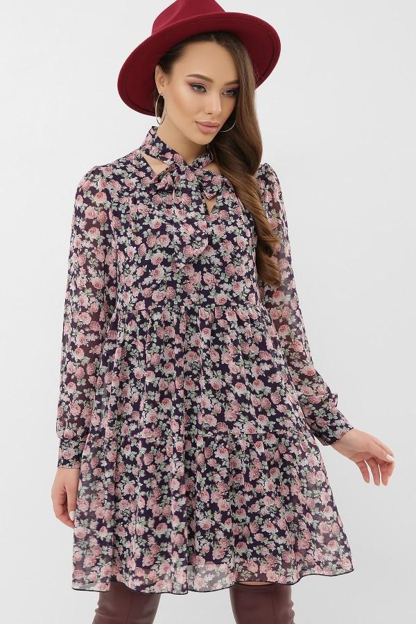 Сукня Мара д / р GL66144 Колір Синій-букет троянд