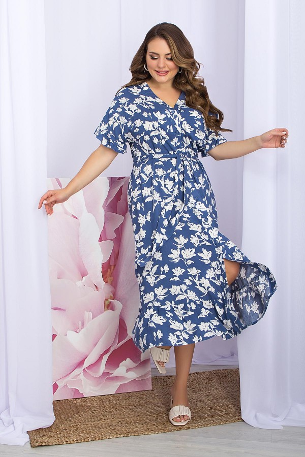 Плаття Пейдж-Б к / р GL 70477 колір джинс-білі квіти