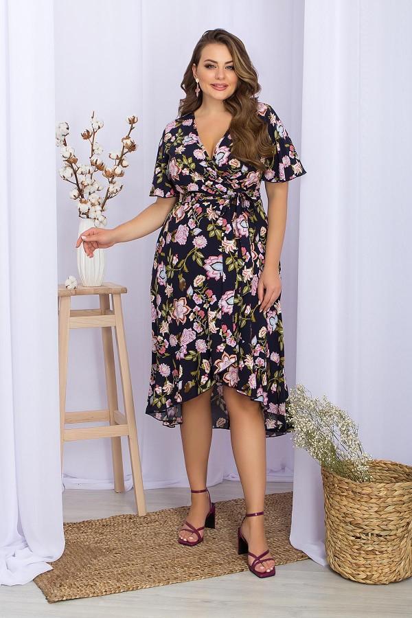 Плаття  Алесія -2Б к/р GL70221 колір синій квіти