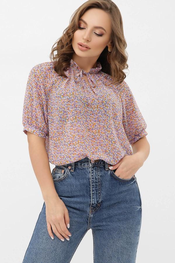 Блуза Ольвія к / р GL68540 колір бузковий-оранж.м.квіти
