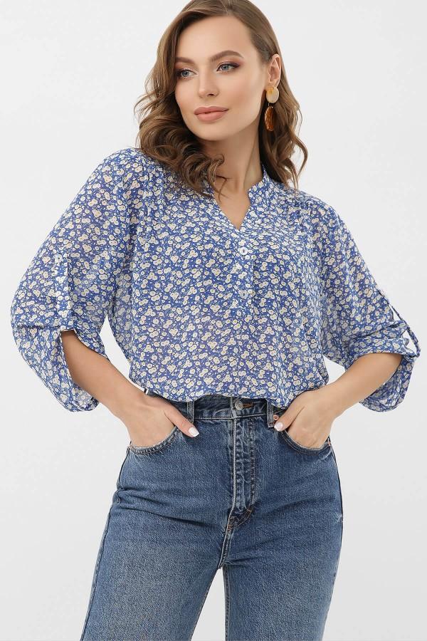 Блуза Севара 3/4 GL68273 колір блакитний-м.цвети