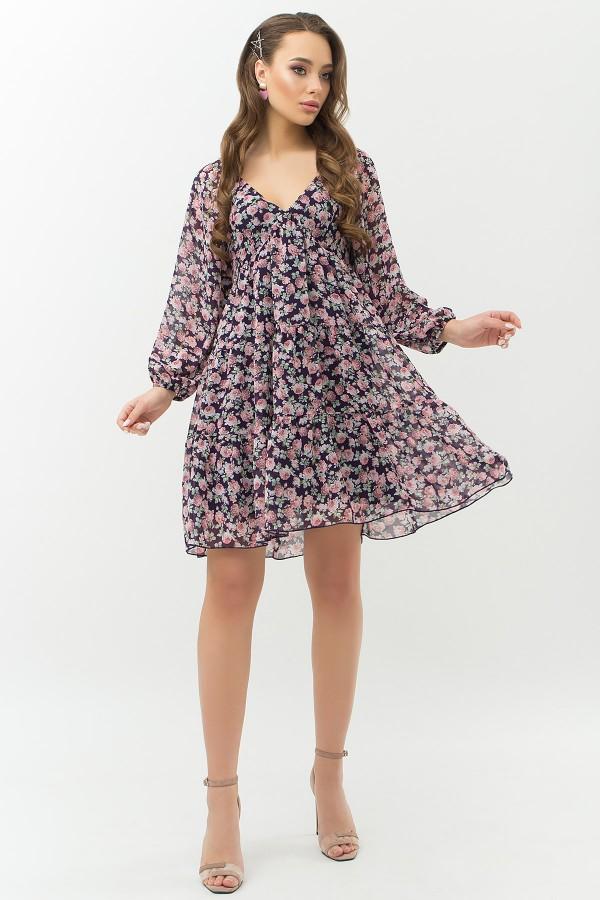 Платье Хельга д/р GL66466 цвет синий-букет роз