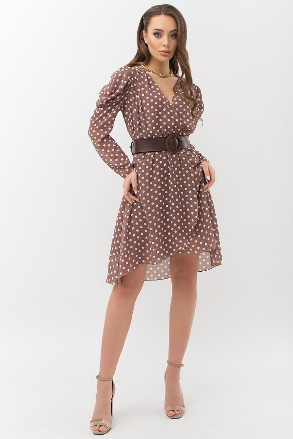 Сукня Лайса д / р GL66572 колір капучино-білий горох