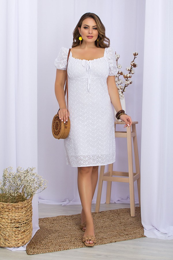 Платье Бажена-Б к/р GL70111 цвет белый