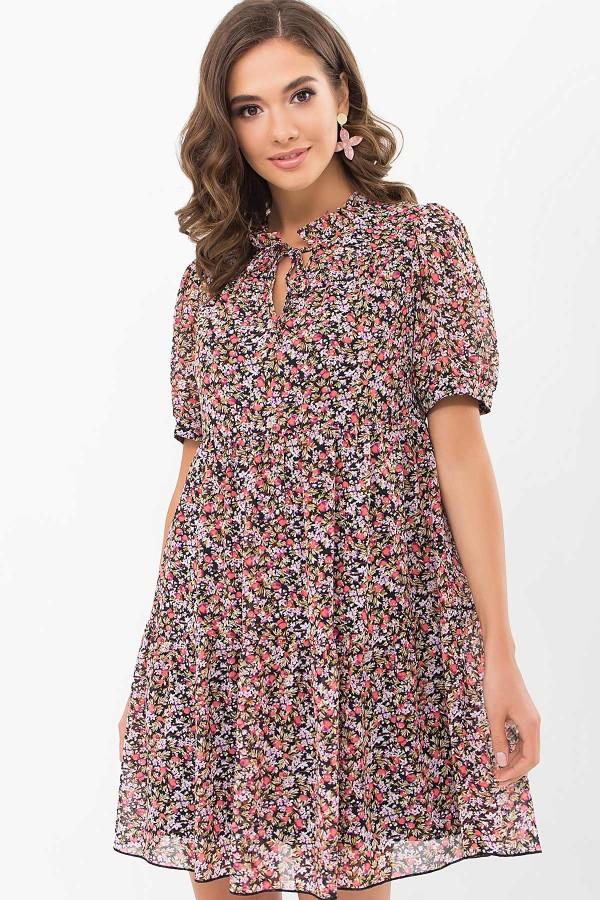 Плаття Каміль к/р GL68911 колір чорний-ягідки
