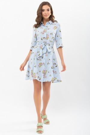 Плаття Асфарі к/р GL68908 колір блакитний-квіти-ягоди