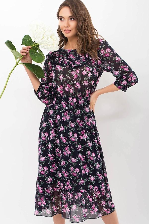 Платье Палома д/р GL68126 цвет синий-розов. Розы