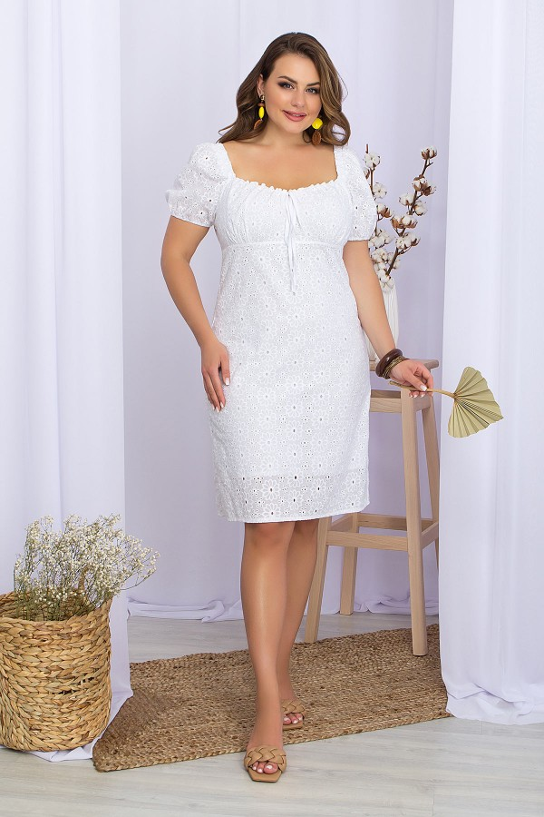 Платье Бажена-Б к/р GL70112 цвет белый 1