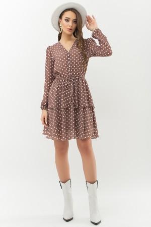 Плаття Алора д/р GL66638 колір капучино-білий горох