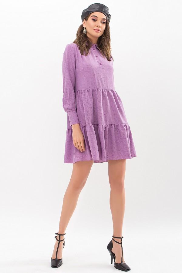 Сукня Наваль д / р GL67481 колір бузок-точка чорна