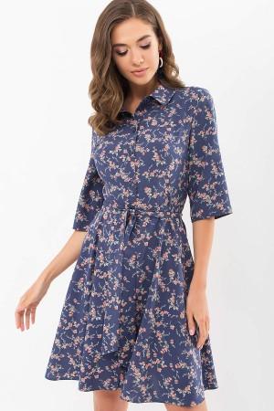 Плаття Асфарі к/р GL68907 колір т. джинс-Корал квітка