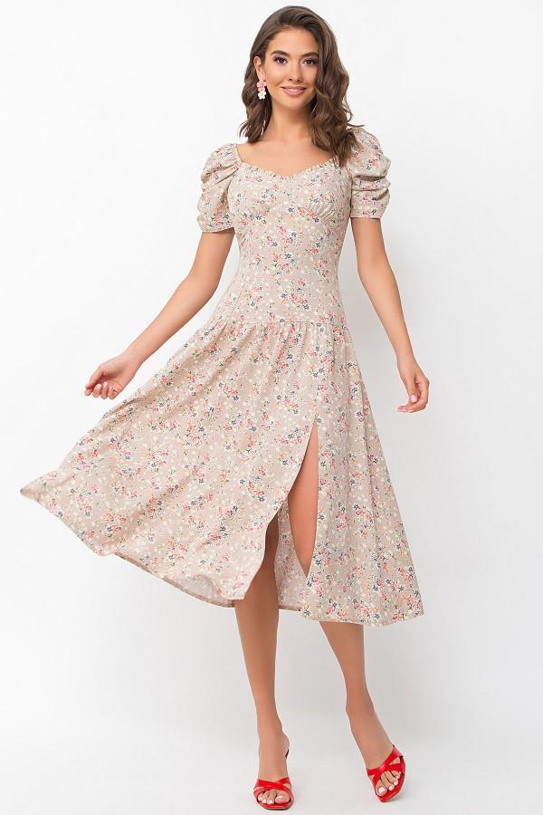 Плаття  Ніксі к / р GL 70122 колір бежевий-м.букет