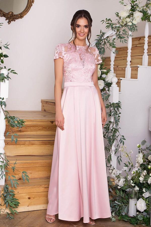Длинное вечернее платье Лорена GL68831 пудра