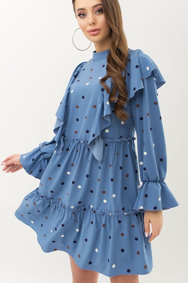 Сукня Лесса д / р GL66528 колір джинс-горох кольоровий