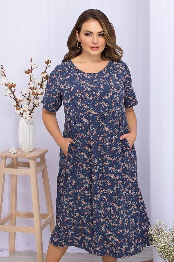 Платье Ирма-Б к/р GL69591 цвет т.джинс-коралл цветок