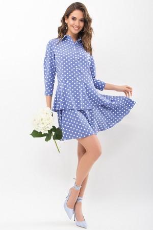 Сукня Саліма 3/4 GL68194 колір джинс-білий горох