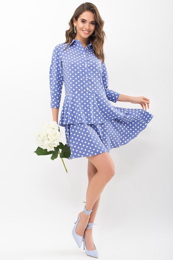 Платье Салима 3/4 GL68194 цвет джинс-белый горох