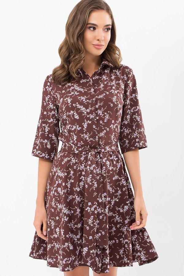 Плаття Асфарі к/р GL68906 колір шоколад-сирен.квітка