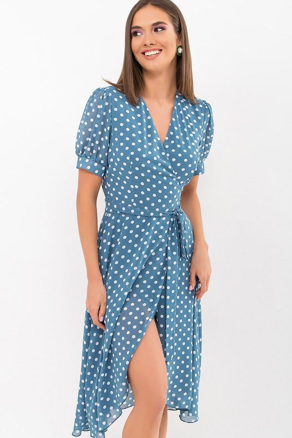 Платье Алеста к/р GL69475 цвет бирюза-белый горох