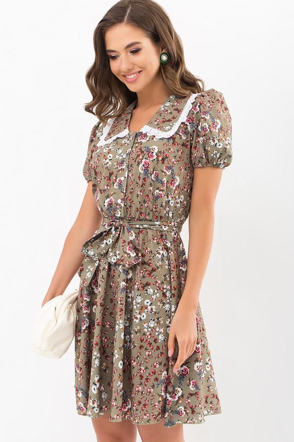 Плаття Еймі к/р GL68913 колір хакі-м. троянди