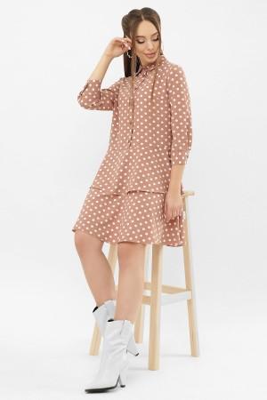 Сукня Саліма 3/4 GL68189 колір капучино-білий горох