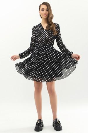 Плаття Алора д/р GL66632 колір чорний-білий горох