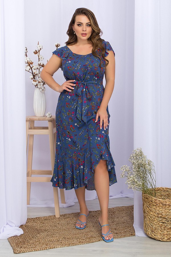 Сарафан Шанія-1Б GL70252 колір джинс-разноцв.цвети