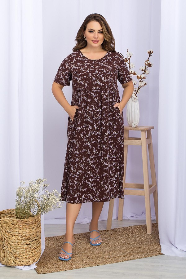 Платье Ирма-Б к/р GL69590 цвет шоколад-сирен.цветок