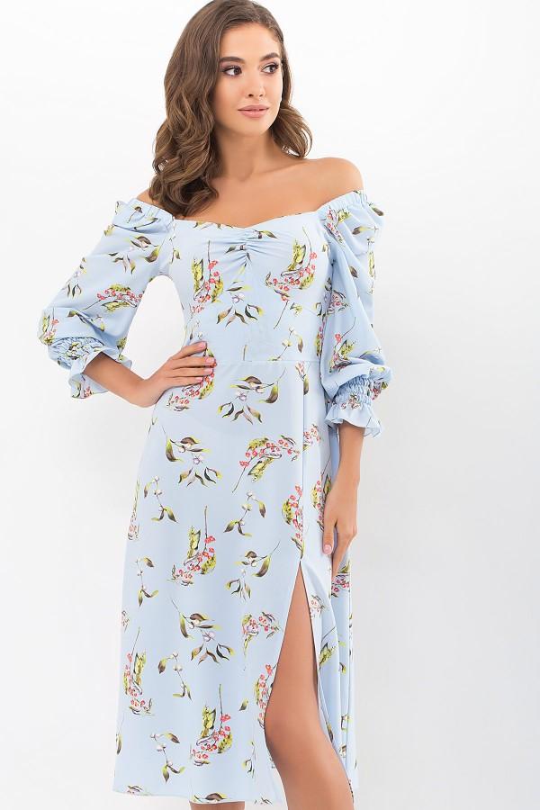 Плаття Пала д/р GL68980 колір блакитний-квіти-ягоди