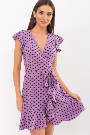 Плаття Софія б/р GL69595 колір бузковий-чорний горох