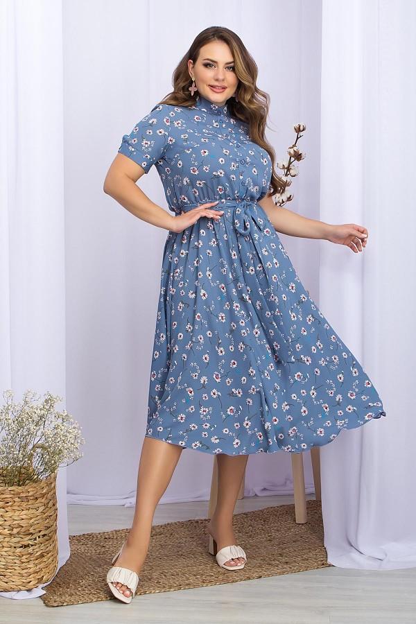 Платье Изольда-1Б к/р GL70115 цвет джинс-ромашки