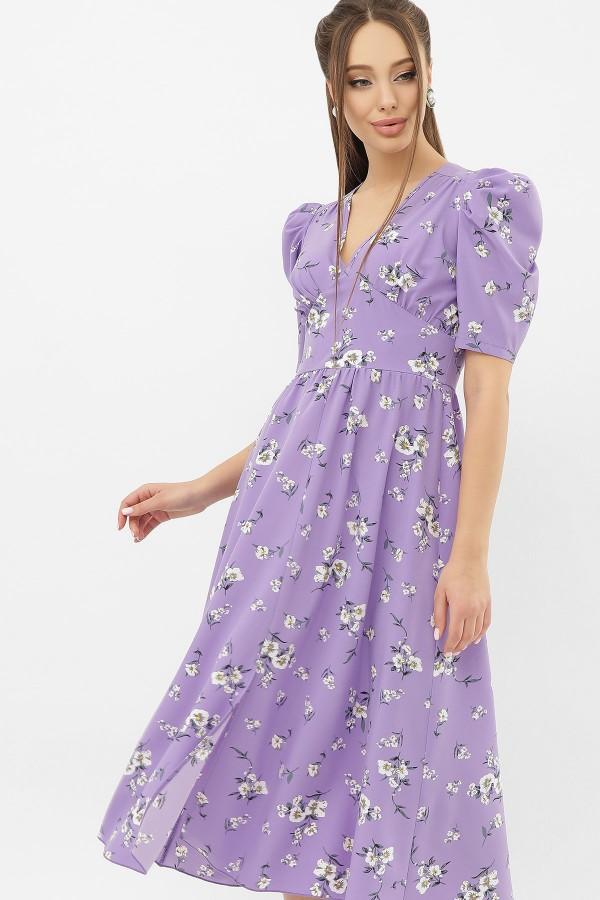 Платье Фариза к/р GL68277 цвет сиреневый-белый букет