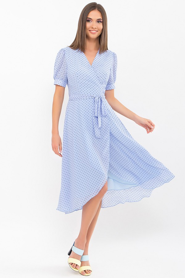 Плаття Алеста к/р GL69472 колір блакитний-чорний м. горох