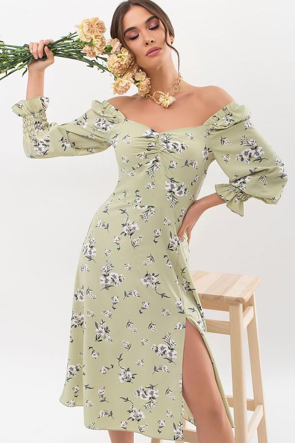 Сукня Пала д / р GL67718 колір оливка-білий букет