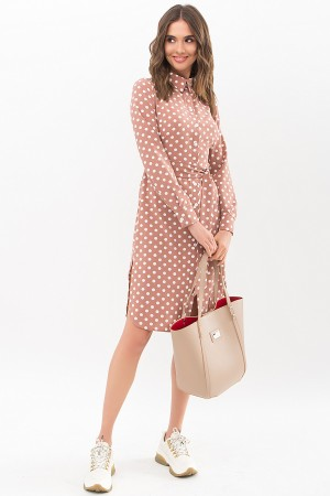 Сукня-сорочка Еліза д / р GL67488 колір капучино-білий горох