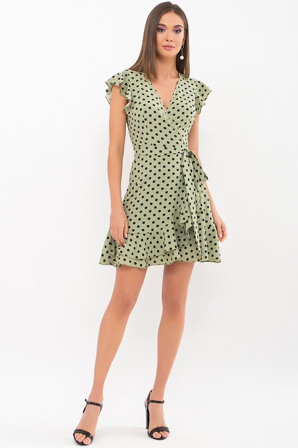 Плаття Софія б/р GL69594 колір хакі-чорний горох