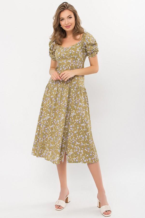 Плаття Ніксі к / р GL 70877 колір оливковий-сіреньРози