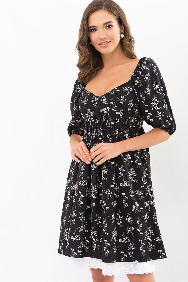 Плаття Есміна к/р GL68915 колір чорний-польові квіти