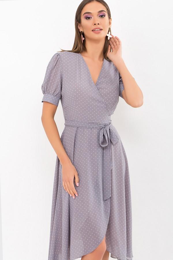 Плаття Алеста к/р GL69473 колір сірий-пудра м. горох
