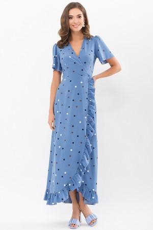 Плаття Румія к/р GL69078 колір джинс-горох кольоровий