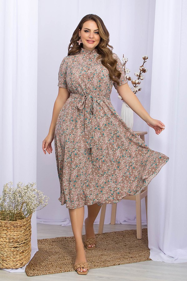 Платье Изольда-1Б к/р GL70113 цвет капучино-зеленый цветок