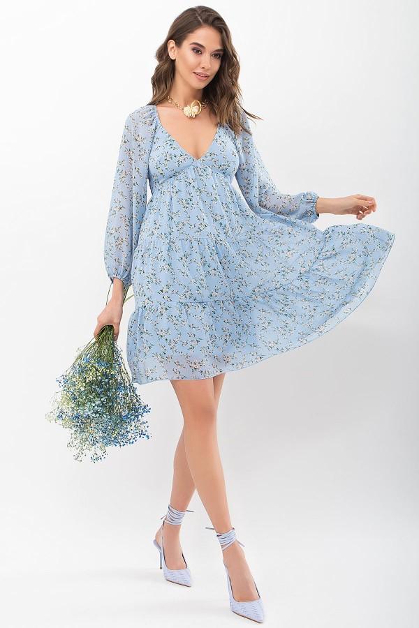Платье Хельга д/р GL68128 цвет голубой-белый м.цветы