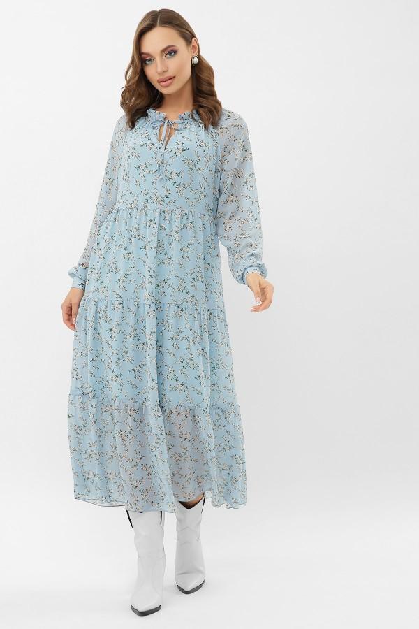 Сукня Маріетта д / р GL68120 колір блакитний-білий  квіти