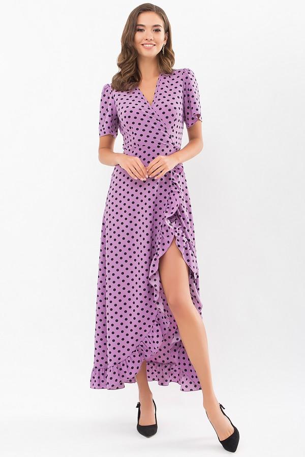 Плаття Румія к/р GL69131 колір бузковий-чорний горох