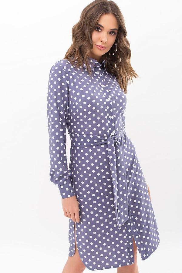 Платье-рубашка Элиза д/р GL67487 цвет серый-белый горох