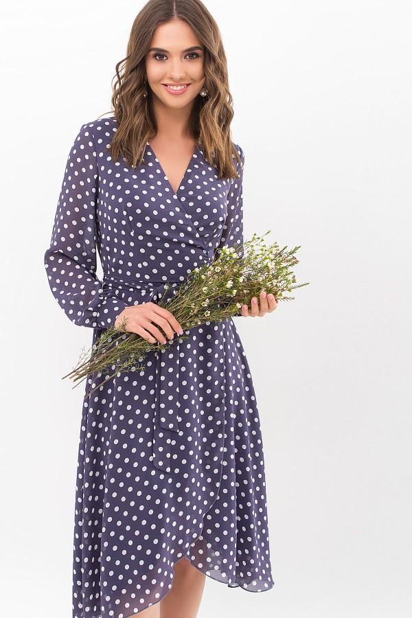 Сукня Алеста д / р GL67632 Колір Синій-білий горох