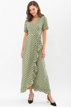 Плаття Румія к/р GL69129 колір хакі-чорний горох