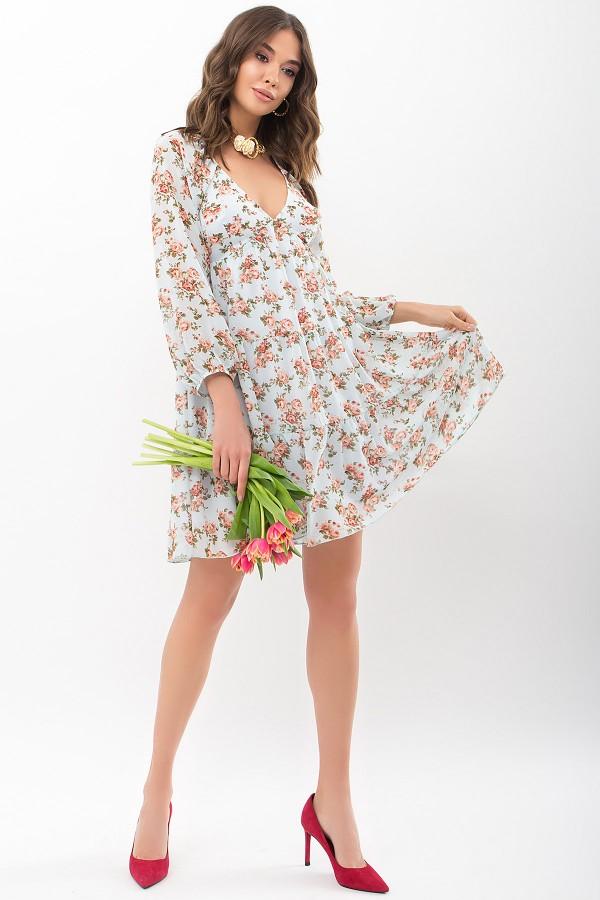 Платье Хельга д/р GL68197 цвет мята-персик Розы